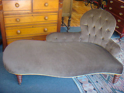 Antique Victorian Wingback Chaise Lounge