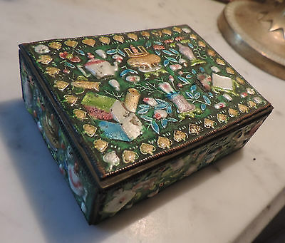 Antique Chinese Cloisonne Enamel Relief Box Famille Rose Precious Objects Export
