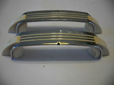 2 Vintage 1950s CHROME DRAWER Door Pulls Handles CREME Lines Plastic Trim