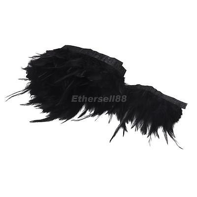 "33"" Dyed Black Feather on Ribbon Fringe Trim for Millinery Costume Sewing Crafts"