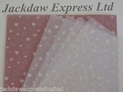 25 Sheets 100gsm A4 Translucent Vellum Paper - White Hearts Design AM527