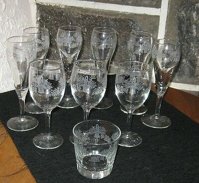 VINTAGE LIBBEY GLASSWARE WHITE ETCHED FLOWER BASKETS MIXED LOT OF 10
