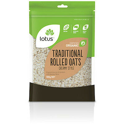 4 x Lotus Organic Traditional Rolled Oats Creamy Style 500g (2kg total)