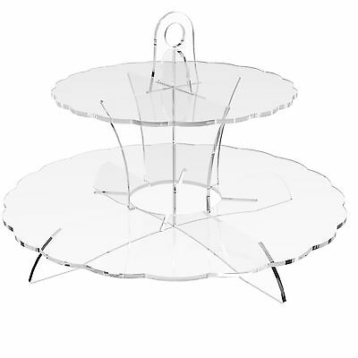 2 Tier Cup Cake Stand Wedding Birthday Party Acrylic Cupcake Display - Scalloped