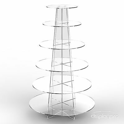 Displaypro 6 Tier Acrylic Cupcake Display Stand Cup Cake Party Holder - Round