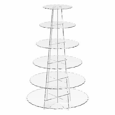 6 Tier Cup Cake Stand Wedding Birthday Party Acrylic Cupcake Display - Scalloped