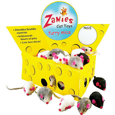 "Zanies 3"" Natural Color Rabbit Fur Mice Cat Toys in lots of 10, 30 or 60"
