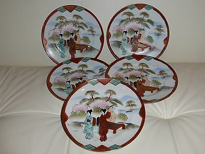Superb Meiji Taisho Antique E-Oh Hand Painted Nippon Geisha Plates- Set of 5