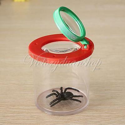 4X Two Lens Insect Viewer Locket Box Magnifier Bug Magnifying Loupe Kid Toy Gift