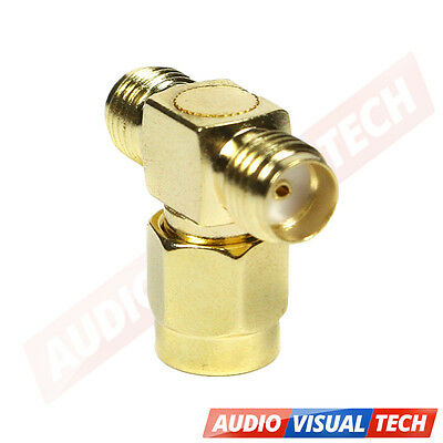Sma Male To Two Sma Female Triple Three Way Splitter Adapter Connector Triple