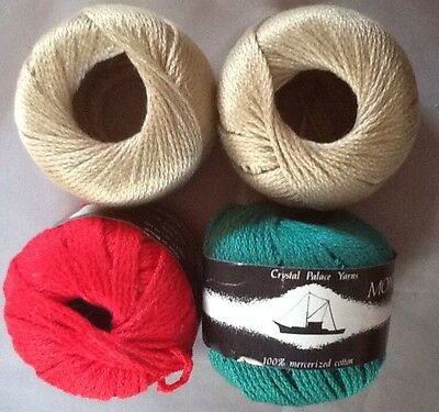 """4 Skeins """"Monterey"""" 100% Cotton Yarn By Chrystal Palace In 3 Different Colors"""