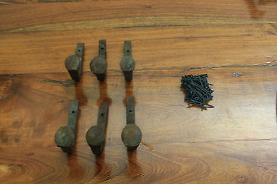 6 Old Railroad Spike Horse Tack Hooks, Barn Handles, or Knobs Retro Vintage