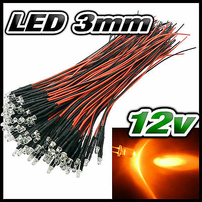 232# LED 3mm 12v pré-câblé orange de 5 à 100pcs - pre wired LED orange 3mm
