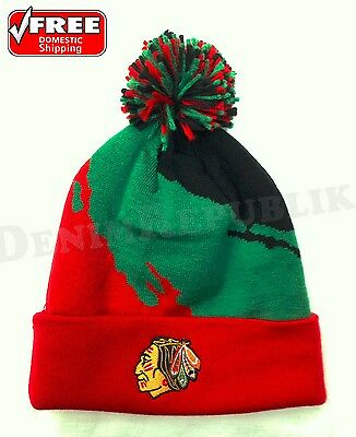 CHICAGO BLACKHAWKS Mitchell & Ness Team Cuffed Knit NHL Beanie Pom Multi Colors