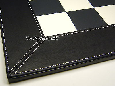 """18"""" CHESS BOARD WHITE & BLACK FAUX LEATHER NEW"""