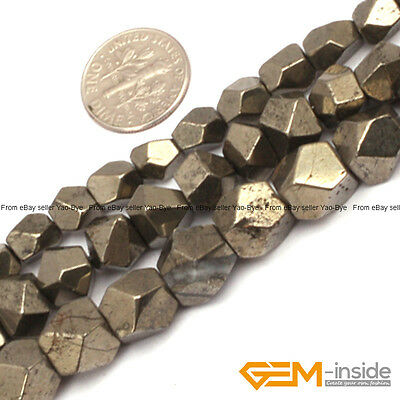 """Natural Pyrite Gemstone Faceted Polygonal Beads For Jewelry Making 15"""" 6mm 8mm"""