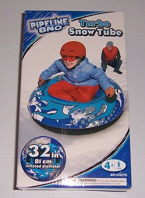 """Pipeline Sno Turbo Snow Tube Sled 32"""" Inflatable Blue New In Box!"""