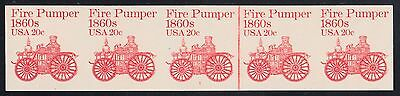 "#1908a 20¢ ""FIRE PUMPER"" STRIP W/ LINE PAIR IMPERF; PLATE # 1 MAJOR ERROR WL5139"
