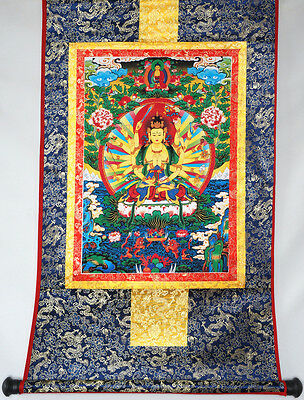 "Fully Brocaded Blessed 32"" Tibet Silk Thangka Painting: Cundi Bodhisattva"