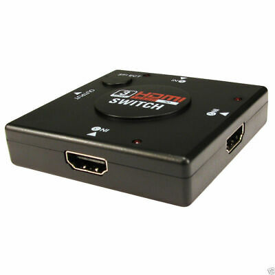 HDMI 3D Mini Switcher 3 Devices to 1 TV Switch Box 3 Way Selector [006819]