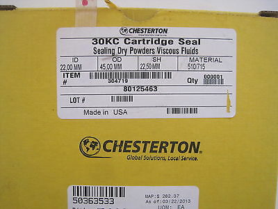 New Chesterton 30Kc Cartridge Seal  22,00Mm Id  45,00Mm Od