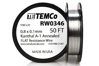TEMCo Flat Ribbon Kanthal A1 Wire 0.8mm x 0.1mm 50 Ft Resistance A-1