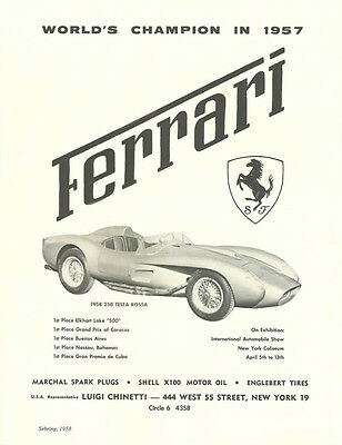 Vintage Large 11 X 14 1958 Ferrari 250 Testa Rossa Ad Better Than Original Print