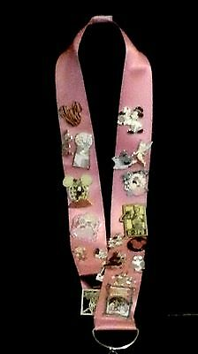 Disney Lanyard Pink In Color 2 Inches Wide  39 Inches Long With Metal Clasp