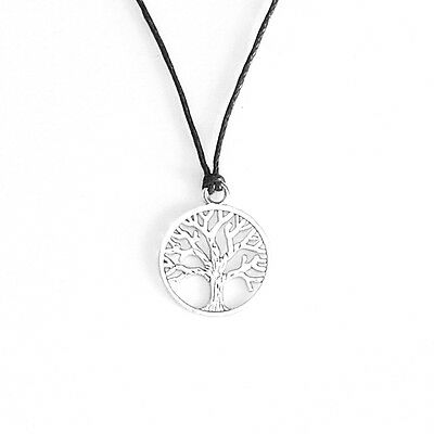 Tree of Life Charm Pendant Necklace Jewellery with Black Cord