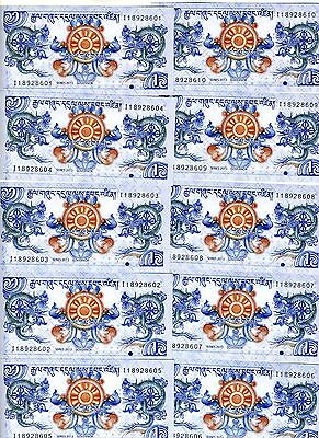 LOT Bhutan, 10 x 1 Ngultrum, 2013 P-New, UNC