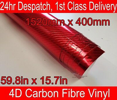 4D Carbon Fibre Vinyl Wrap Film CHROME RED 400mm(15.7in) x 1520mm(59.8in)