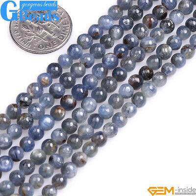 """Natural Stone Kyanite Round Beads For Jewelry Making Free Shipping 15"""" 4mm 6mm"""