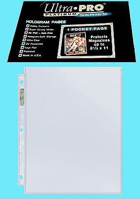 "10 ULTRA PRO PLATINUM 1-POCKET 8.5x11 Pages Sheets Protectors Binder 8-1/2""x11"""