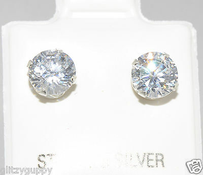 sterling silver cz stud earrings 925 clear cubic zirconia round prong setting