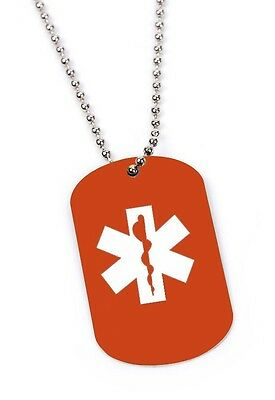 Personalized Medical ID Tag Laser Engraved Custom Military Dog Tag or Key Chain