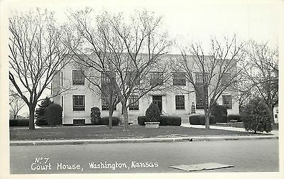 Vintage Real Photo PC; No. 7 Court House, Washington, Kansas KS