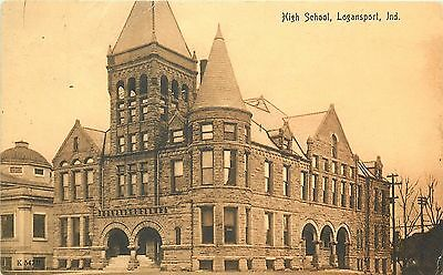 Vintage PC Romanesque Stone Architecture High School Logansport IN Cass County