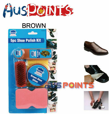 5PC Shoe Boot Polish Kit Leather Care Black And Brown Shine Wax Sydney Stock