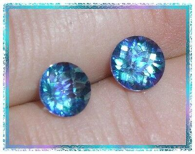 Cassiopeia Mystic Topaz - 7mm Round Checkerbrd Cut - Matched Set of 2 - 3.30 ctw