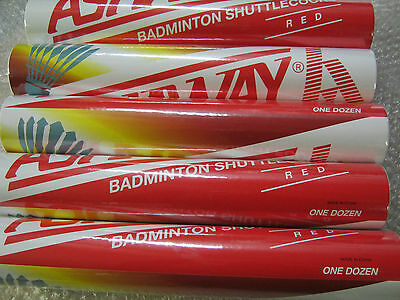 ASHAWAY RED FEATHER SHUTTLES SHUTTLECOCKS SPEED 77 or 78 TUBE TUBES OF 12