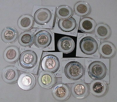 24 x US 5¢ Nickel Coins, LFNA Graded, Mixed Years 1943 - 1975, All In Cases