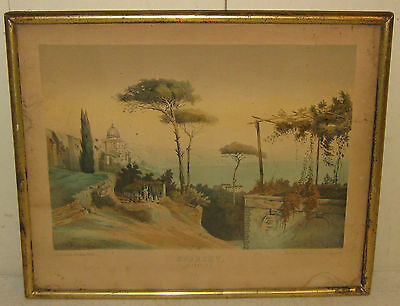 ANTIQUE CURRIER & IVES Schl *SORRENTO ITALY* PRINT-MAX ZELLER NY & VERLAG BERLIN