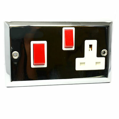 Masterplug 45A Cooker Switch Control Unit with 13A Plug Socket CHROME [002891]