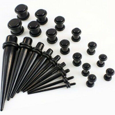 Taper Stretcher Ear Plugs Expander Gauges Acrylic Stretching Kits Set Black