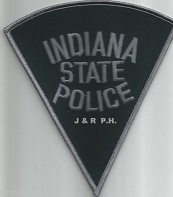 """Indiana State - Black Background (5"""" x 5.5"""" size)   shoulder police patch (fire)"""