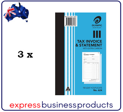 3 Pack Olympic #624 Duplicate Tax Invoice & Statement Book - AO140872