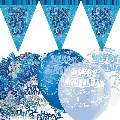 Blue Silver Glitz Happy Birthday Flag Banner Party Decoration Pack Kit Set