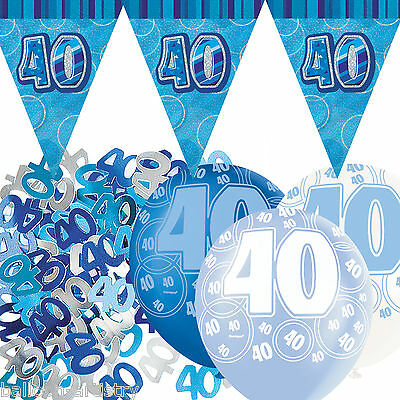 Blue Silver Glitz 40th Birthday Flag Banner Party Decoration Pack Kit Set