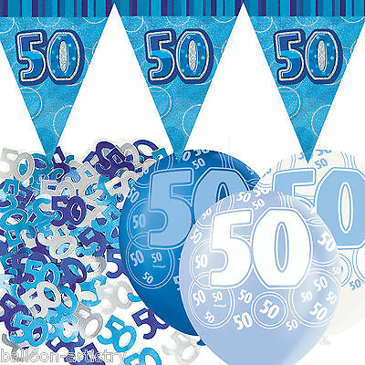 Blue Silver Glitz 50th Birthday Flag Banner Party Decoration Pack Kit Set