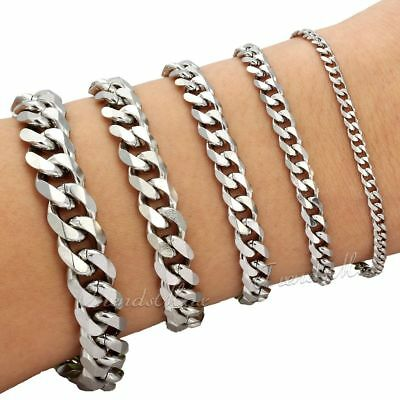 3/5/7/9/11/mm Mens Chain Curb Cuban Link Silver Tone Stainless Steel Bracelet